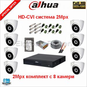 Dahua Full HDCVI system 2Mpx-8c-2