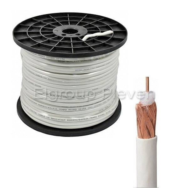Коаксиален кабел RG59 CU 75Ω, меден с UV защита, БЯЛ, 200м ролка